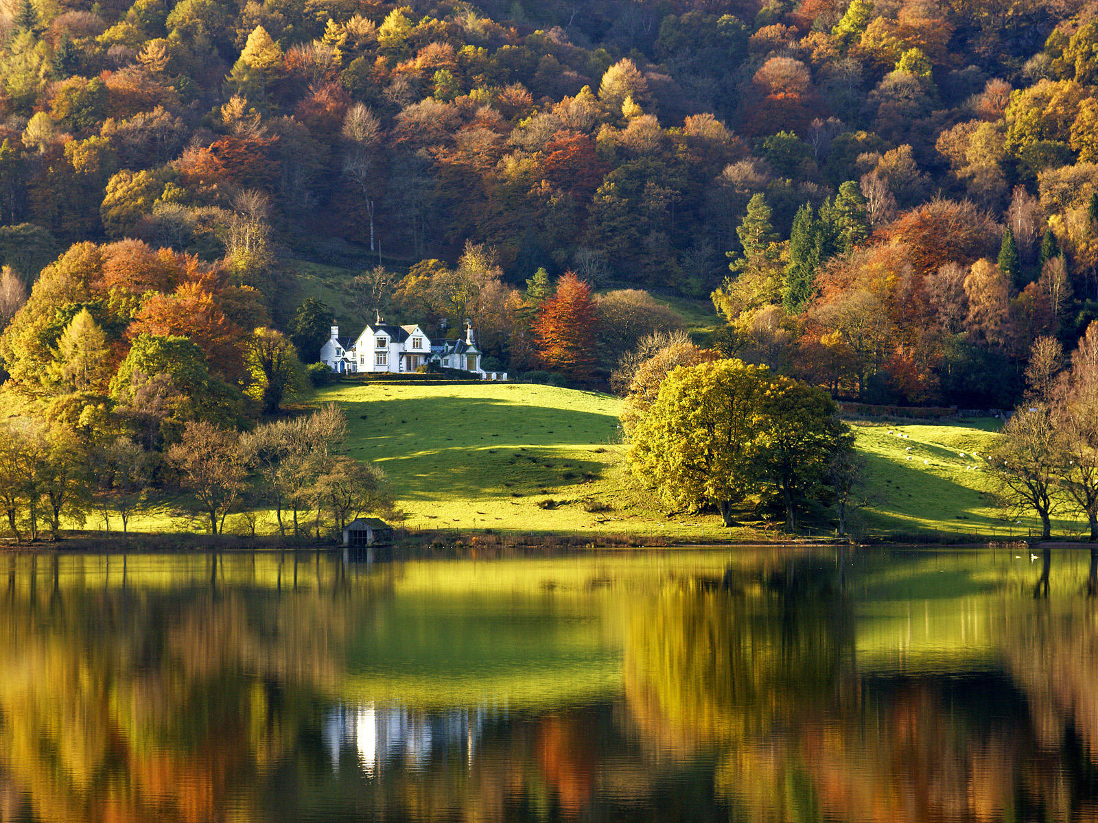 Grasmere lake with autumn colours and reflections, Lake District, Cumbria, England